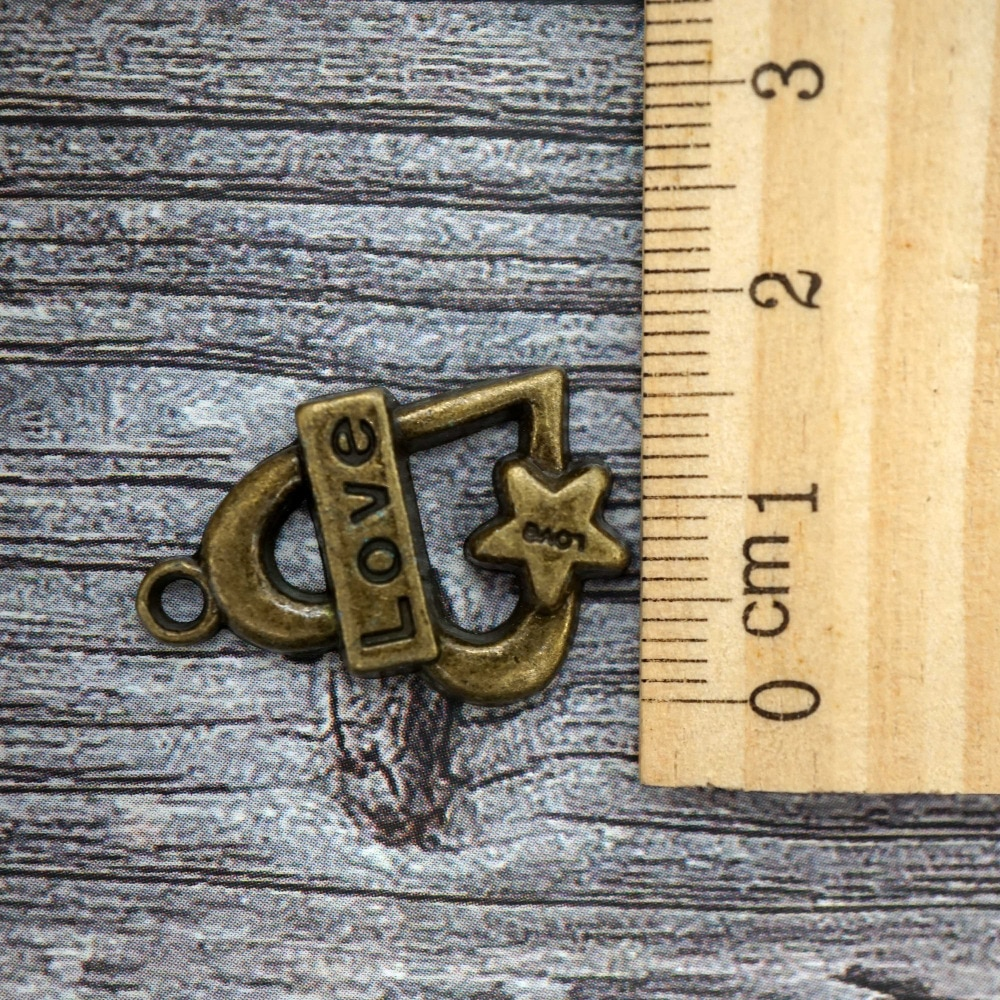 5PCS/lot 23x12mm Bronze color Love pendant charms for making necklace Jewelry for women 2019 bracelet , keychain craft supply