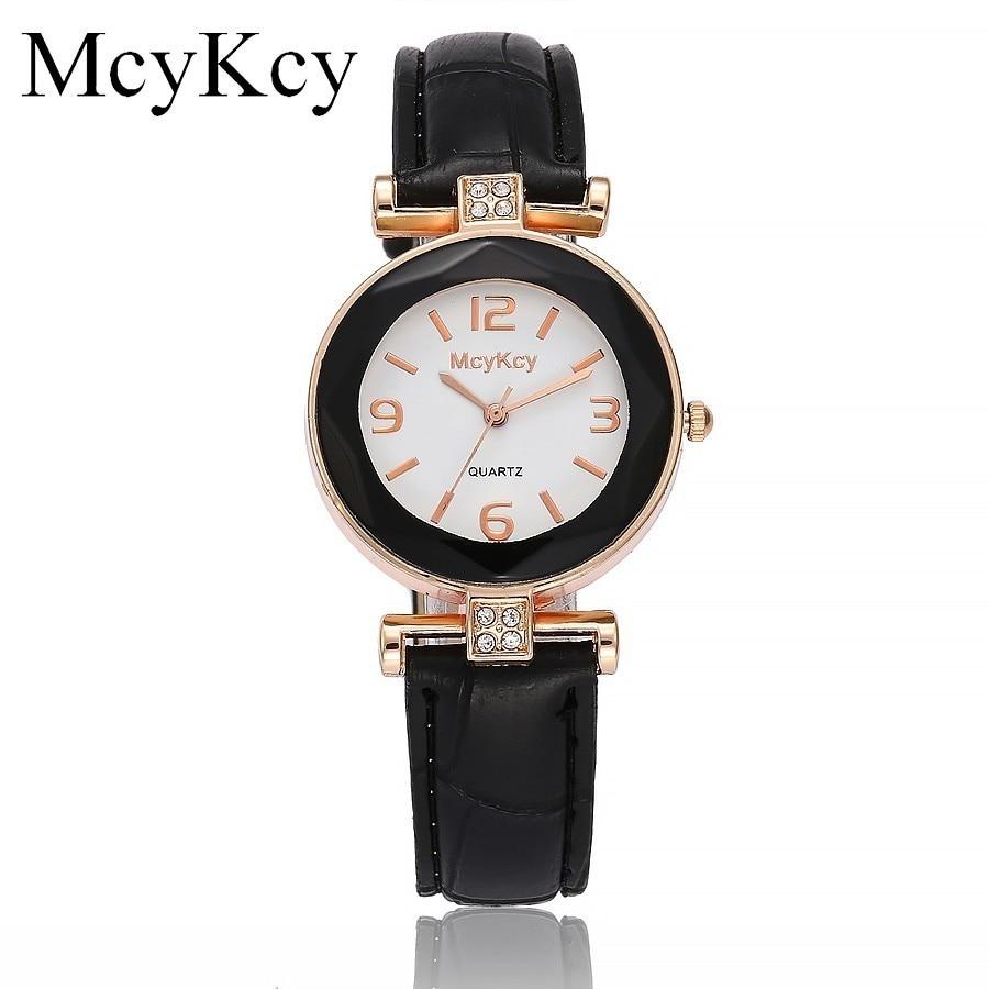 Venda quente mcykcy mulheres strass relógio de luxo marca moda pulseira de couro relógio de quartzo relógio de ouro rosa relógio relogio feminino