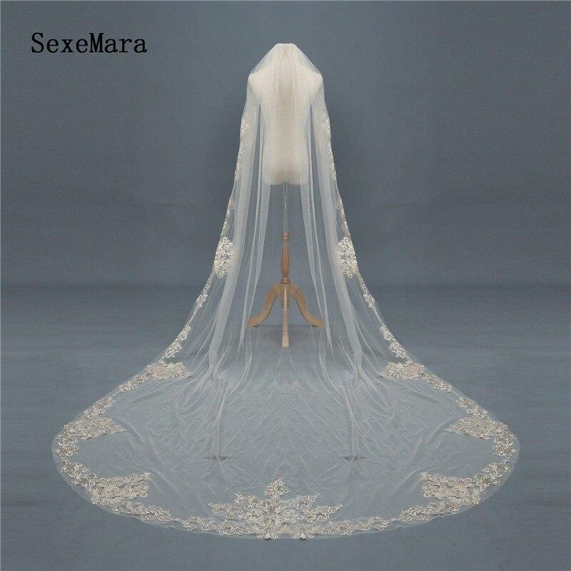 Véu de casamento longo de 3m, véu de casamento com aplique de renda 1t com pente branco marfim, champanhe para casamento romântico
