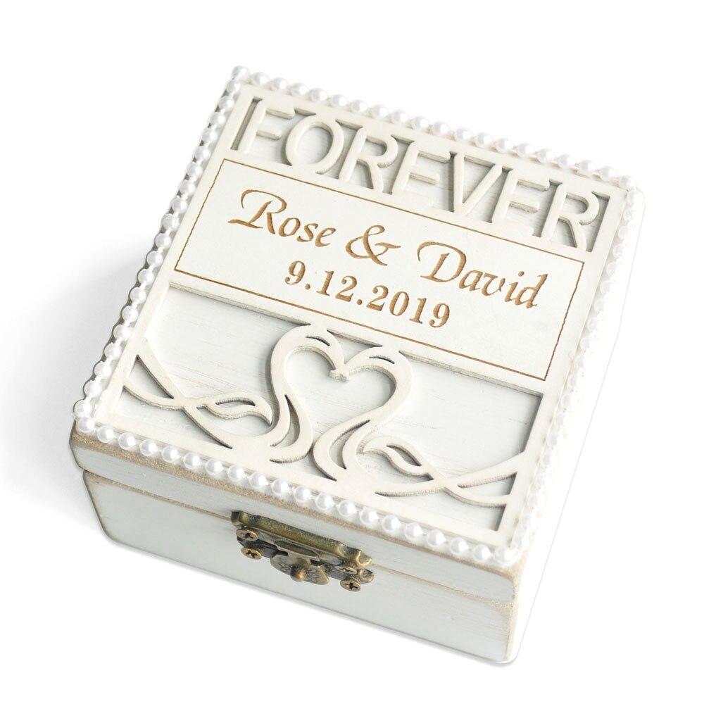 Caja para guardar anillos de boda personalizada, soporte de anillo de madera grabado, caja de anillo de propuesta, almohada de anillo de compromiso, caja de recuerdo, caja de joyería