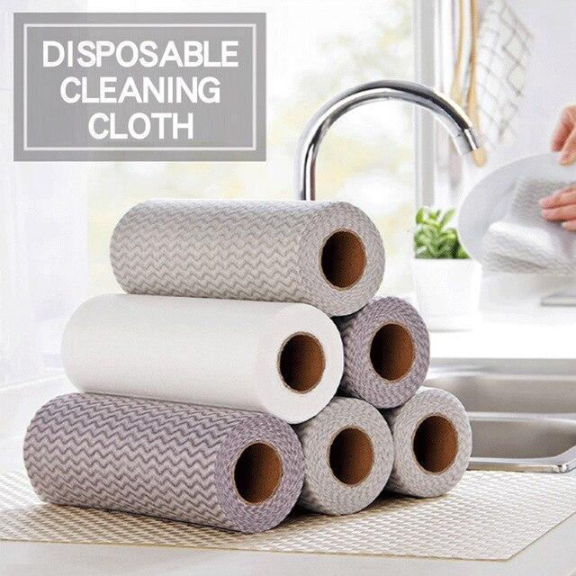 50 Uds de toallas de cocina para platos, trapo desechable, Toalla de baño, Toalla de baño de algodón con microfibra absorción de aceite para el hogar, herramienta de limpieza