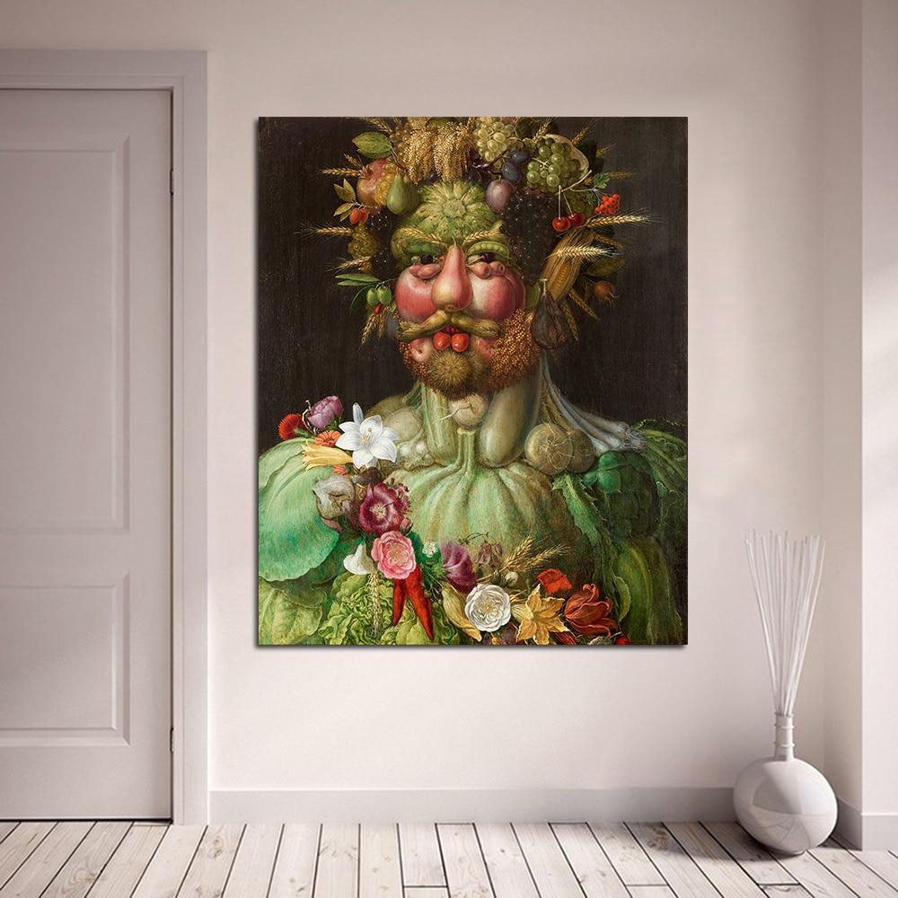 Pintura al óleo sobre lienzo JQHYART Rudolf II de Habsburg As Vertumnus Arcimboldo para sala de estar hogar Deco
