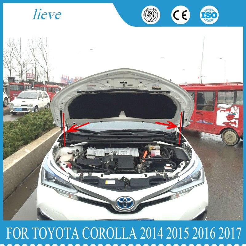 Cubierta de capó para Toyota Corolla 2014 2015 2016 2017, soporte para capó de motor de varilla telescópica, soporte de elevación para 2 uds, estilo de coche