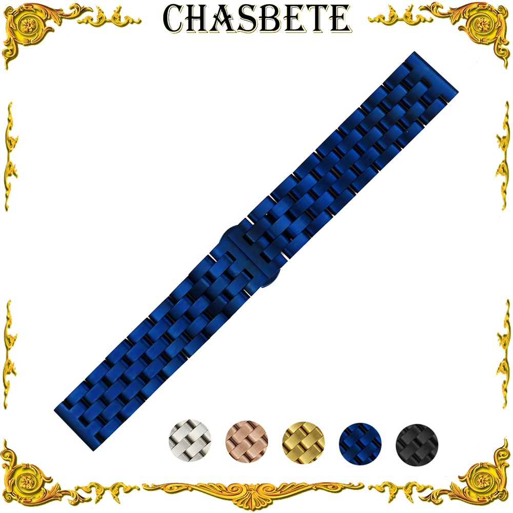 Correa de reloj de acero inoxidable de 20mm y 22mm para Luminox, correa de Metal de liberación rápida, pulsera de lazo de muñeca, plata, negro, azul, dorado + Pin