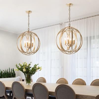 Скандинавские золотые подвесные светильники Современная круглая клетка Подвесная лампа Лофт промышленный декор столовая кухня осветител...