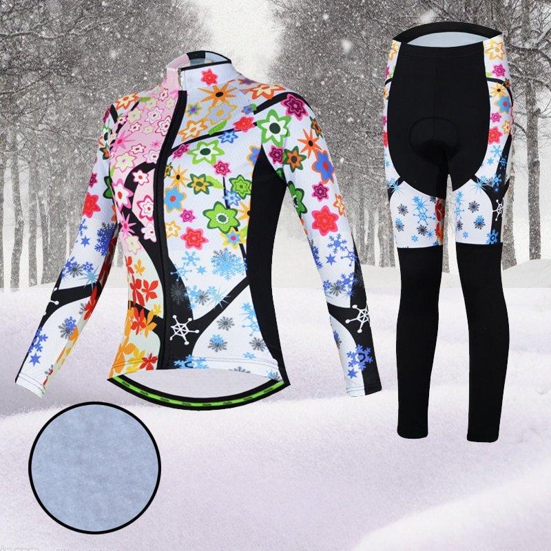 Aogda, conjunto de Ciclismo rosa, forro polar térmico de Invierno para mujer, ropa de Ciclismo de manga larga, ropa de bicicleta, juego Uniforme, almohadilla de GEL para Ciclismo