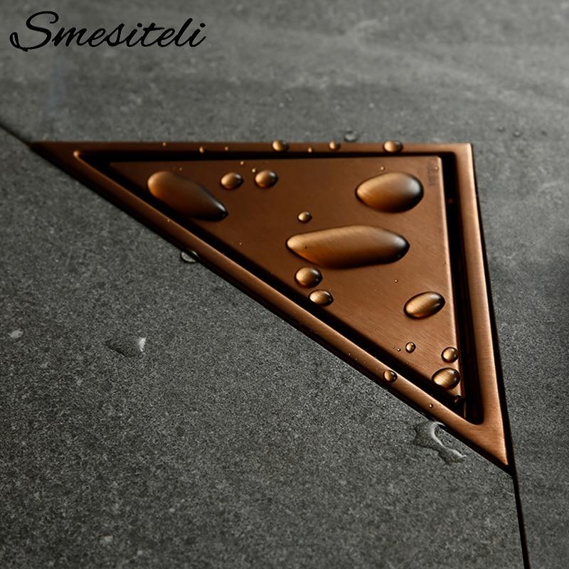 Smesiteli ارتفع الذهب الحمام المخفية نوع بالوعة المصارف مثلث بلاط إدراج الطابق استنزاف الفولاذ المقاوم للصدأ دش استنزاف 232*117 مللي متر