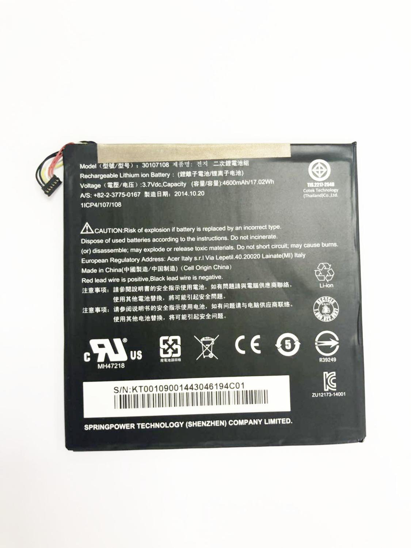 4600mah 30107108 batería para acer A1-840-131U A1-840FHD-10G2 Iconia A1-840FHD-197C Iconia A1-840
