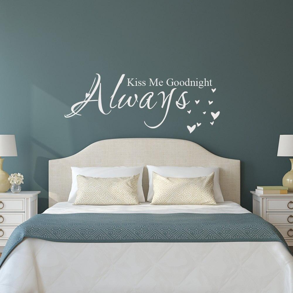 WXDUUZ, calcomanía de vinilo para pared con nombre personalizado, decoración artística, frase romántica, pegatina de vinilo para pared, Always Kiss me, goodnight, pegatina para decoración del hogar, C35