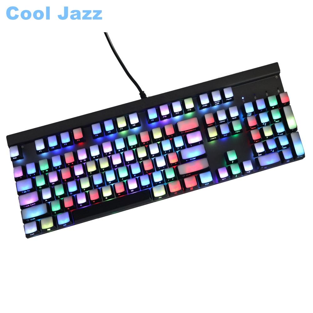 Frente/lado impresso backlit keycaps 104 ansi layout translucidus backlit abs keycaps para cherry mx switches teclado mecânico