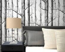 Beibehang Abstracte zwart-wit takken behang kofferbak boomtakken berkenbos woonkamer TV 3d behang voor muren 3 d