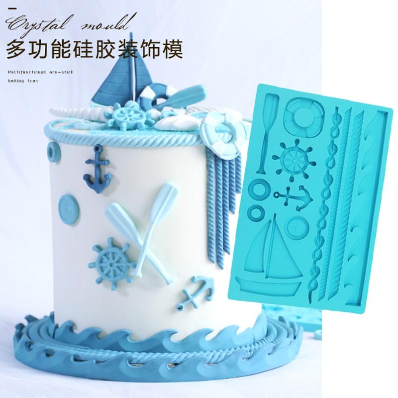 Ocean Paddle Sail Anchor Silicone Mold Fondant Mould Cake Decorating Tools Chocolate, Gumpaste Mold, Sugarcraft, Kitchenware