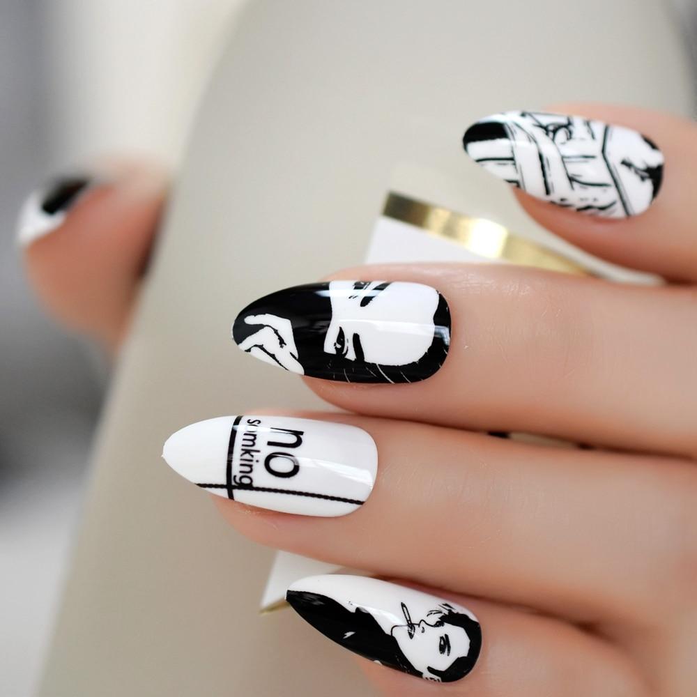 Stiletto Comic fumar blanco uñas falsas negro medio diseñado Artificial uñas Consejos dibujos animados patrón moda manicura uñas falsas