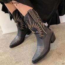 Buono Scarpe broder femmes bottes Med talons rétro chevalier bottes femme en cuir véritable Botas Mujer Western Cowboy vente Boots2019
