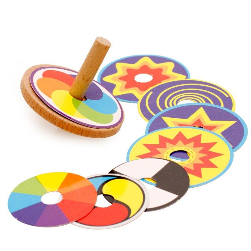 Figet Spinner Kinetic Variegated madera Gyro creativo rompecabezas juguetes tradicionales nostálgicos madera niños juguetes colorido pequeño giroscopio