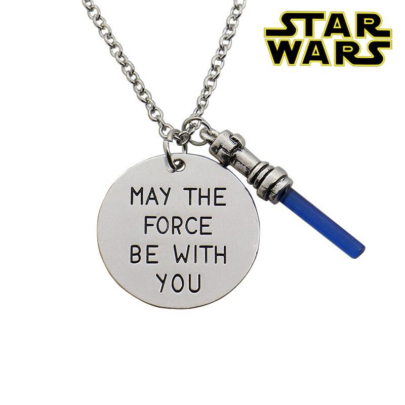 Collar de Star Wars 7, collar de force be with you con estampa a mano, colgante de espada de sable de luz para mujer, joyería de película