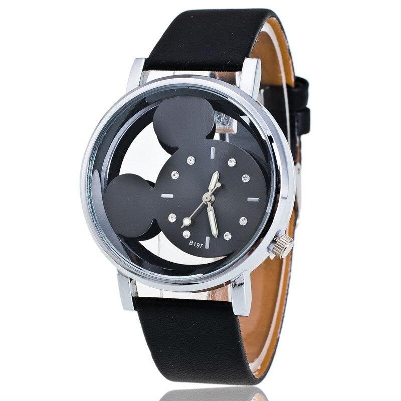 Brand Leather Cartoon Quartz Watch Women Children Girl Boy Kids Fashion Bracelet Wrist Watch Wristwa