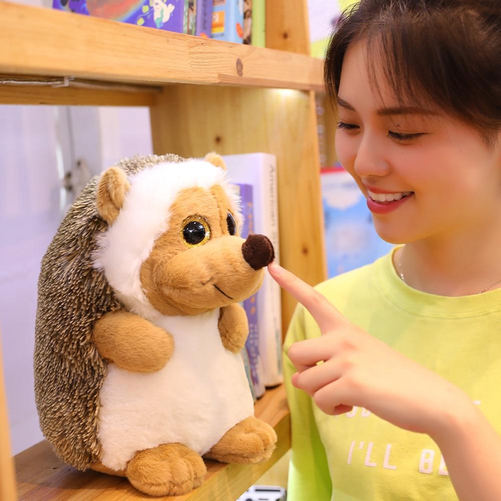 Peluche de erizo de 20cm, 30cm, 40cm, relleno graso, animal realista, juguetes con ojos grandes brillantes de ensueño
