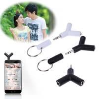 Адаптер для наушников 1 в 2, 2 шт./лот, двойной разъем 3,5 мм для наушников, адаптер для iPhone, MP3 плеера, разветвитель для наушников, белый/черный