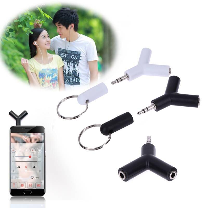 2 unids/lote 1 en 2 adaptador Jack doble de 3,5mm para auriculares para Samsung para iPhone reproductor MP3 adaptador divisor de auriculares Blanco/negro