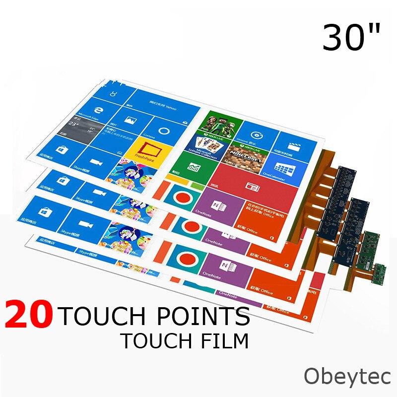 "Película de pantalla táctil USB de 30 ""obycrop, 20 toques, transparente, transparente, suave, sin controladores en Windows, Linux, Android, Ras Pi"
