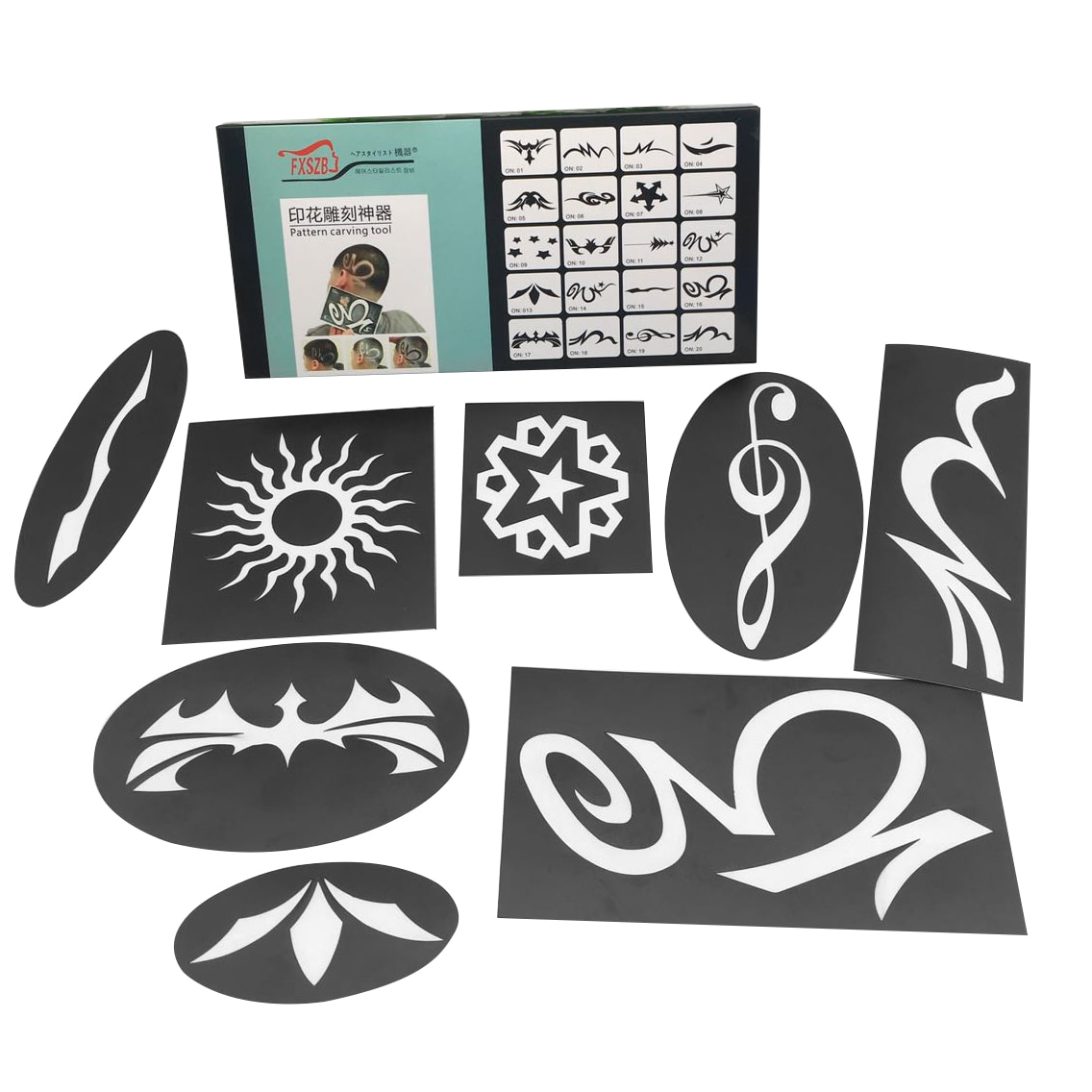 20 unids/set de plantillas de tatuaje para el cabello, recortador de patrones de colores tallados, pegatinas de plantilla, tablero de revestimiento de tinte, herramientas de peluquería DIY para salón