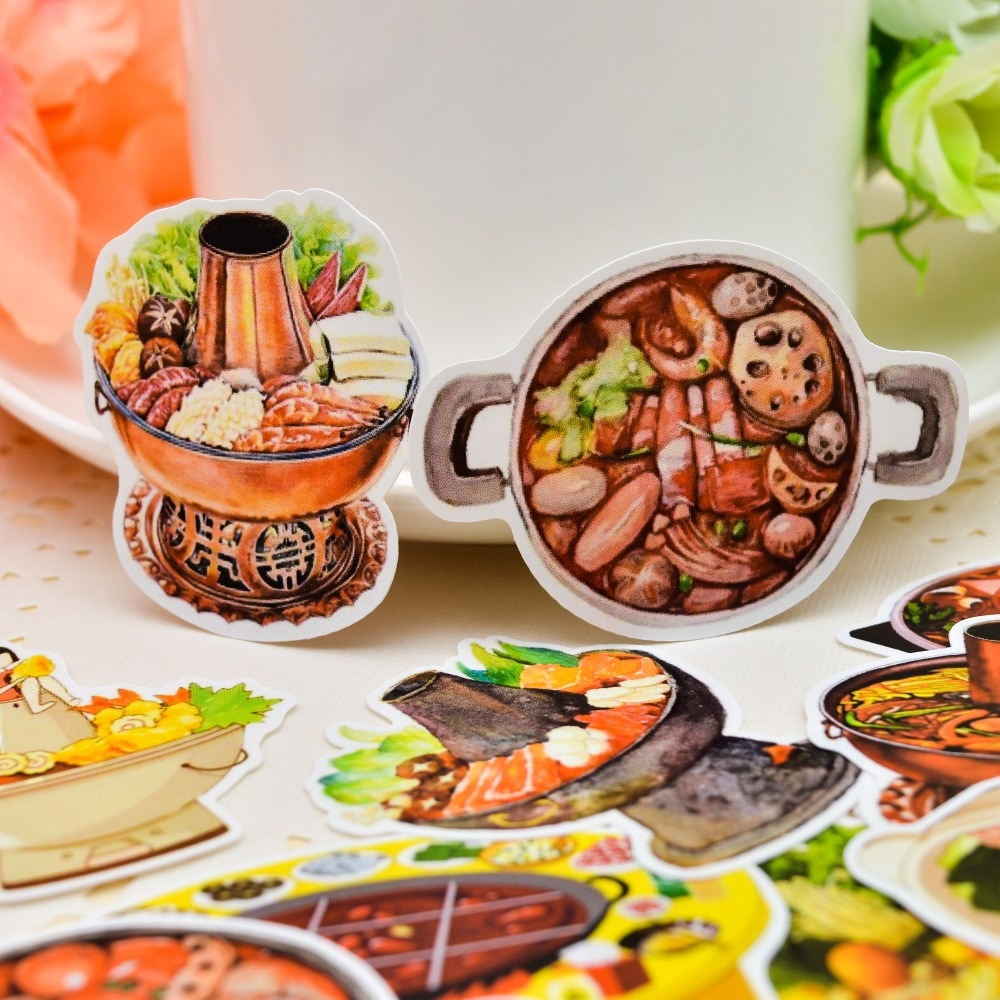 25 uds, hecho a mano, China, Hotpot, manual de pegatinas de alimentos, Material circundante, TN, pegatina/Paquete de pegatinas, decoración de álbumes y diarios
