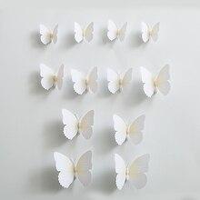 2 pièces (24 pièces)   Ensemble de 2 Autocollants muraux blancs en PVC avec aimant   Autocollants muraux, créatif, en Carton, Art papillon Animal, décor de pièce