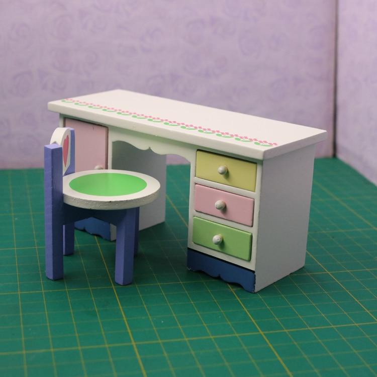 G07-X053 juguete de regalo para niños, casa de muñecas 112, mini muebles miniatura, accesorios de muñeca, escritorio de escritura con chaiir2pcs/set