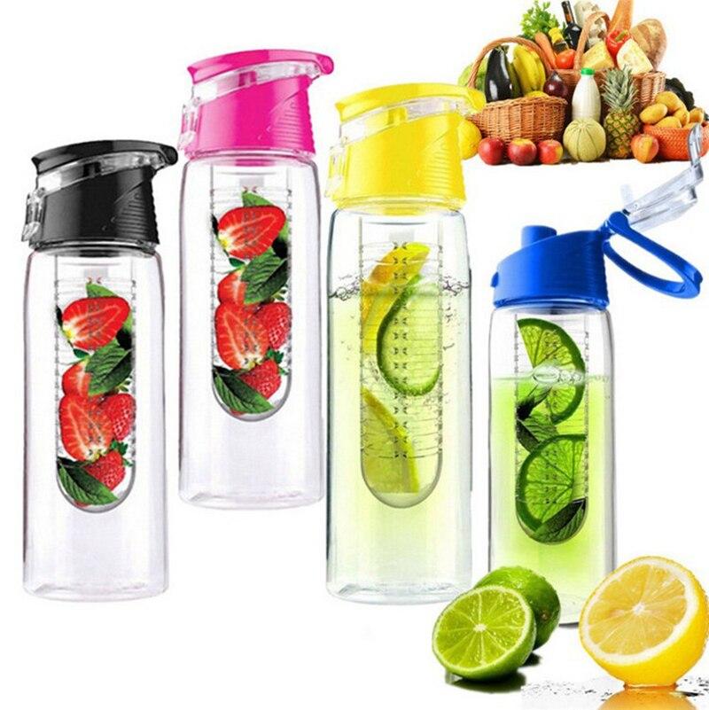 Botella de agua de infusión de fruta portátil de 800 ML, botella deportiva de jugo de limón, tapa abatible para mesa de cocina, Camping, viaje al aire libre