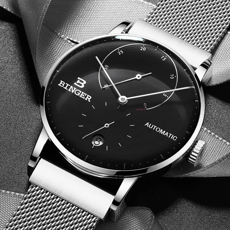 Switzerland BINGER Top Mens Watches Top Brand Luxury Automatic Mechanical Watch Men Full Steel Business Waterproof Fashion Sport