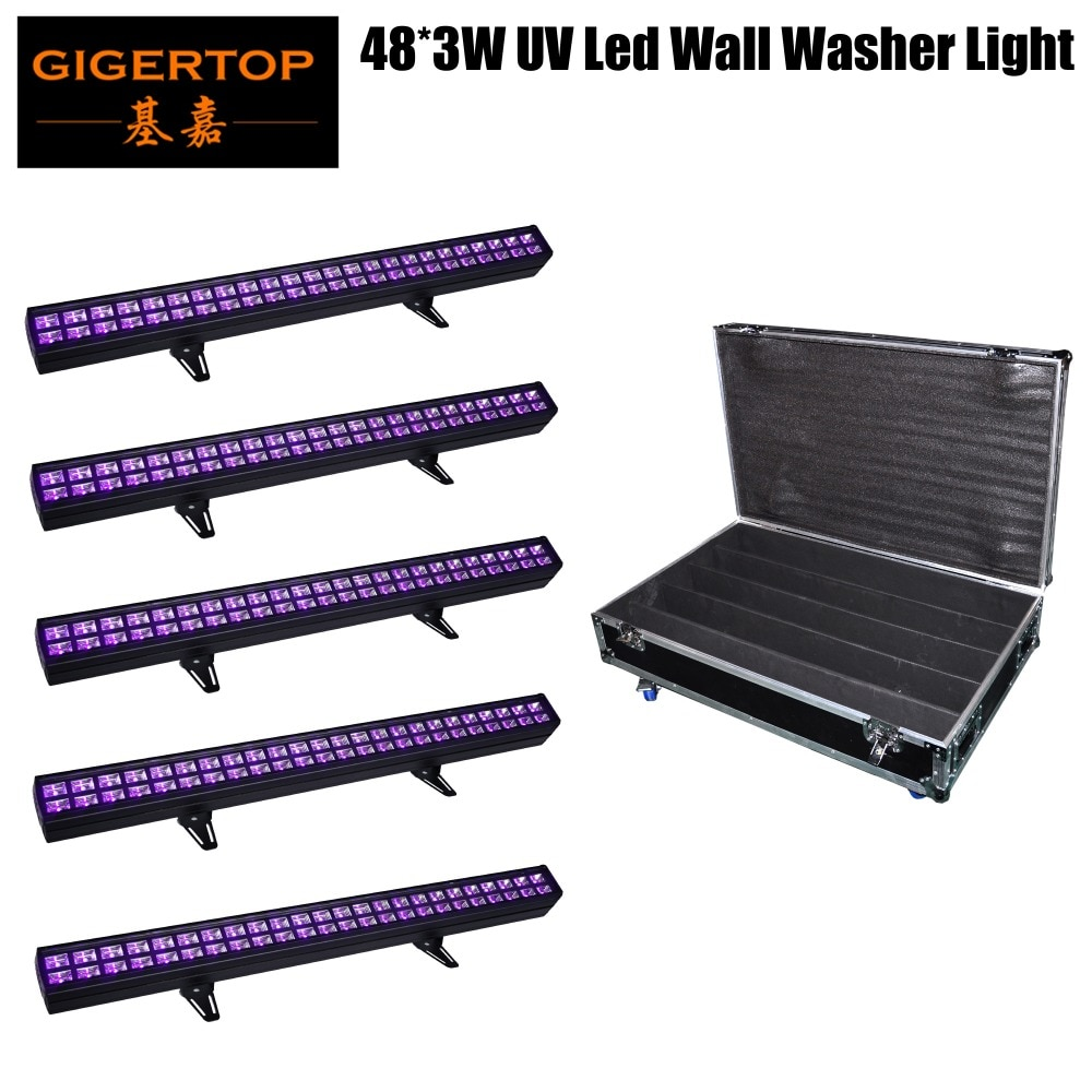 Flightcase 5 en 1 barra púrpura UV 48x3W tira de Ultravioleta LED Barra de luz negra DMX DJ luz de fondo de escenario 150W