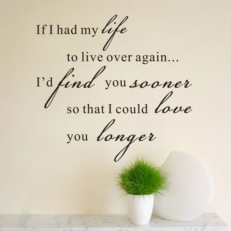 life i love you longer inspirational vinyl wall stickers quotes diy home decor wall art living room removeable decals black