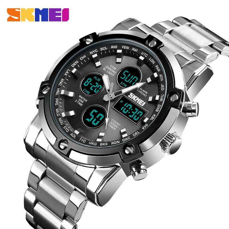 Relojes deportivos para hombre, relojes digitales LED de lujo de la mejor marca, reloj de pulsera analógico de cuarzo militar para hombre, reloj de hombre SKMEI