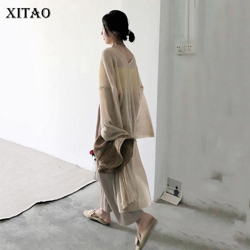 XITAO Thin Knit Plus Size Cardigan Top for Women Korea Summer Sunscreen Oversize Casual V Neck Wild Waist Maxi Trench KZH464