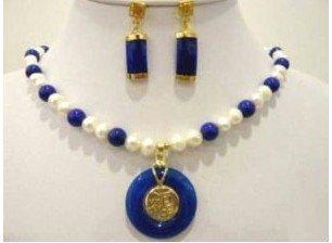 beautiful blue jades pearl necklace earring sets Fashion AKOYA Free shipping