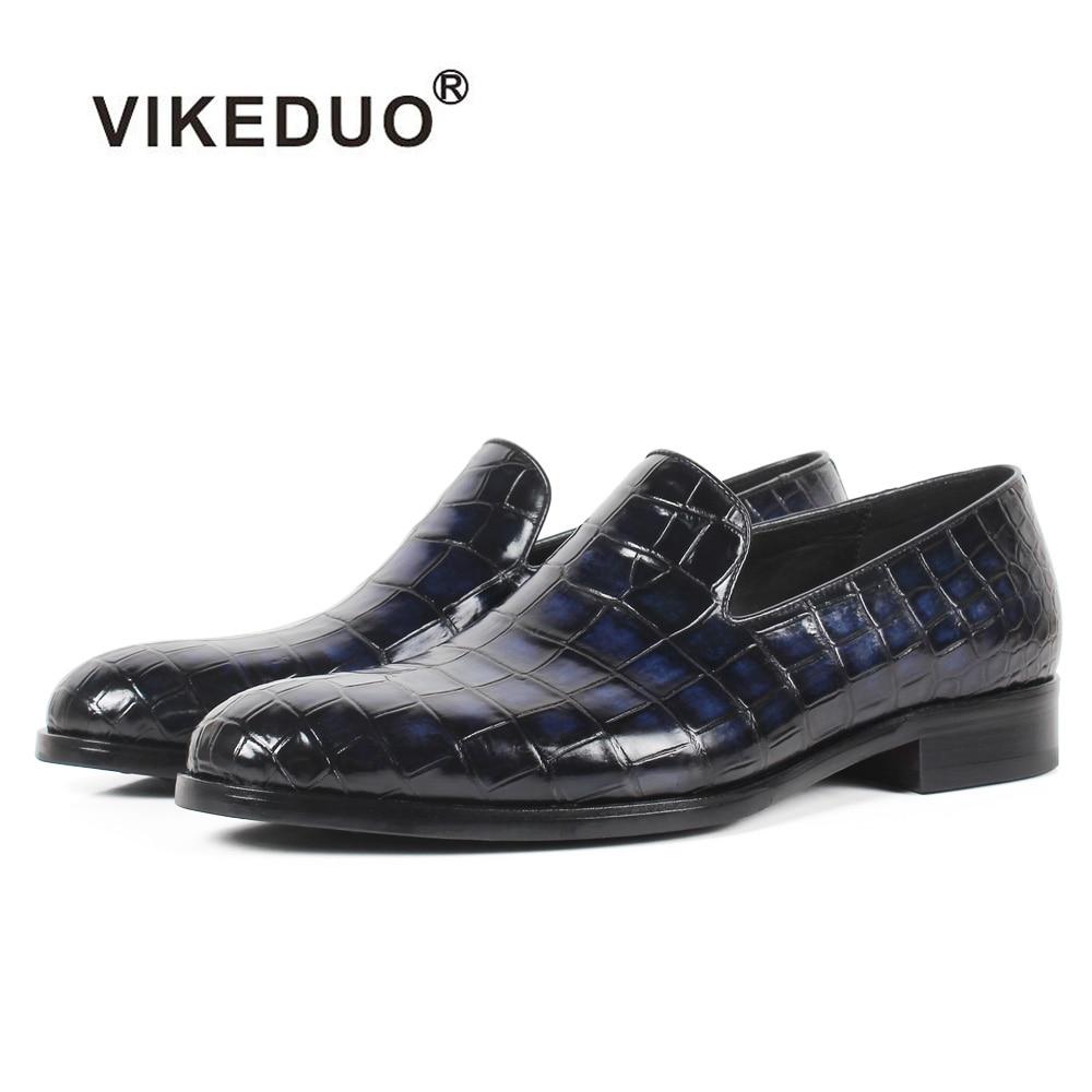 Vikeduo 2020 Custom Genuine Leather Shoe Fashion Casual Style Party Crocodile Skin Designer Blue Loafers Shoes Men's Patina Shoe