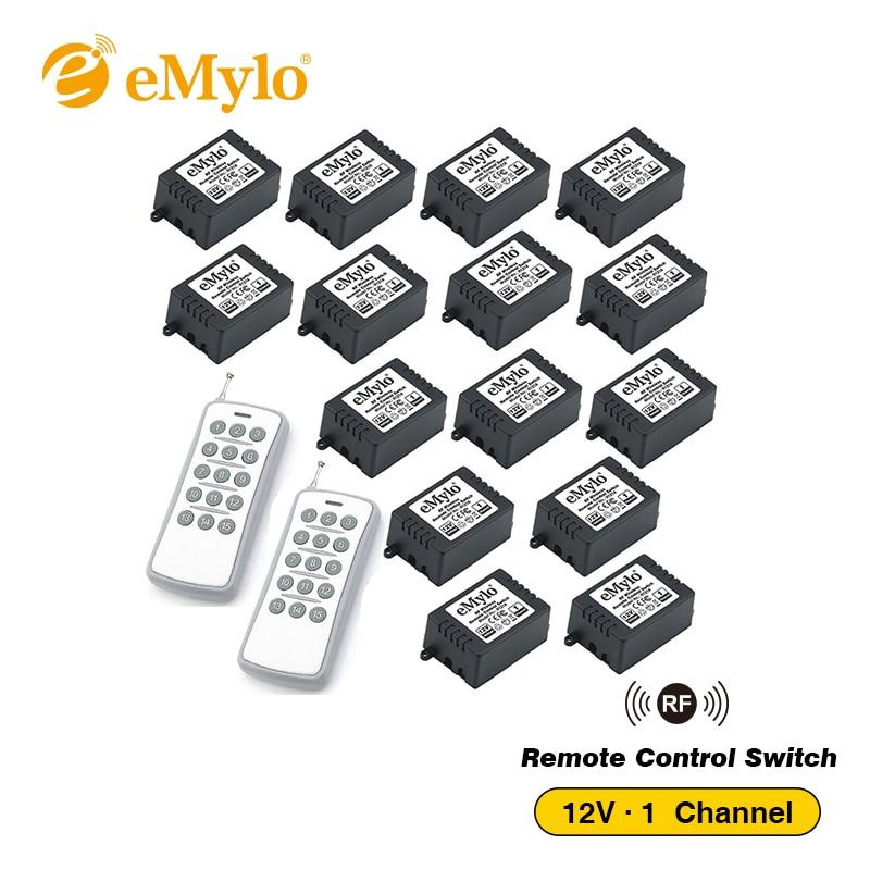 EMylo-مفتاح ذكي للتحكم عن بعد بالضوء ، مرحل مرحل مرحل مع جهاز إرسال مرحل بالأبيض والرمادي ، مرحل مستقبل 15X 1 قناة DC 12V RF 433Mhz