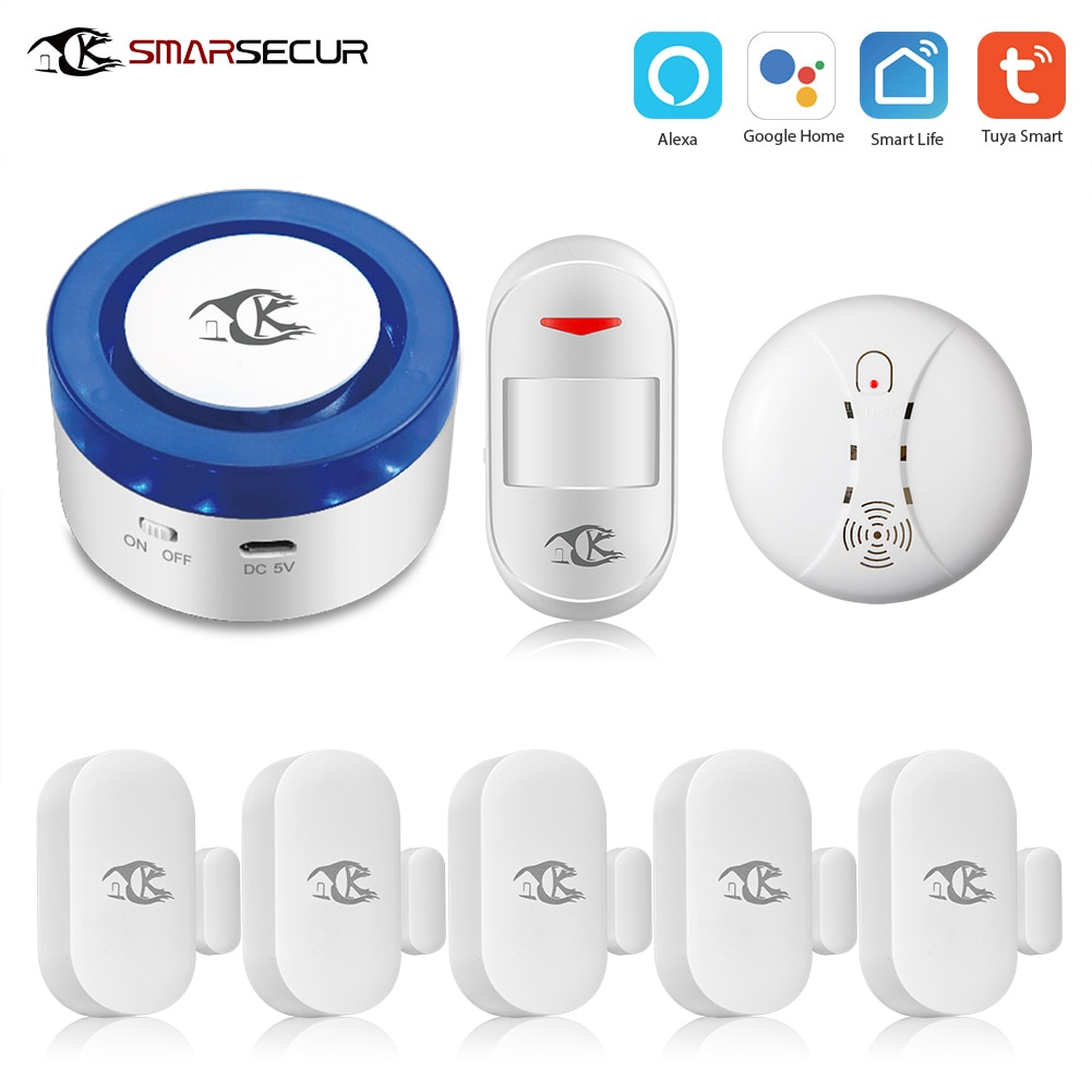 Smartsecur WiFi en casa alarma de seguridad sirena WiFi sirena inteligente Tuya inteligente Wrok con detector de humo