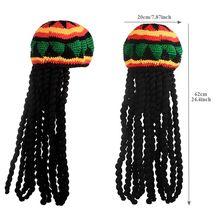 Chapeau avec bonnets tricotés unisexe   Perruque de déguisement pour Halloween, pour fête de noël, chapeau tressé, chapeau à franges, chapeau jamaïcain Bob, Marley Rasta