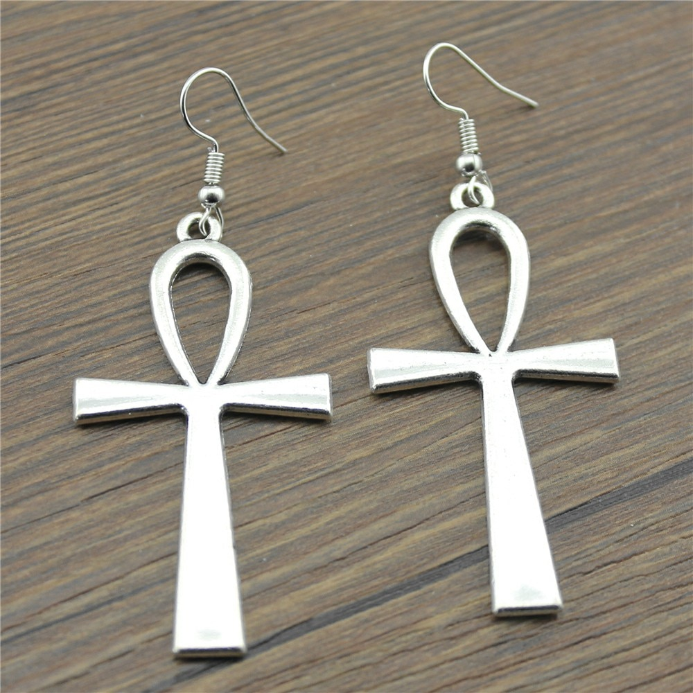 Ankh Cross 52x28mm Charm Drop Earrings Fashion Handmade Design Earring Jewelry Gift For Women