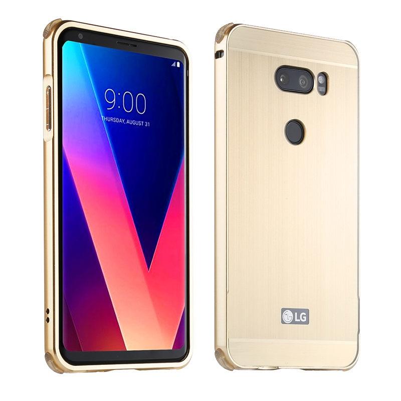 Para LG V 30 V30 funda de marco de Metal con cubierta trasera cepillada funda dura para LG V30 H930 H933 funda protectora de teléfono