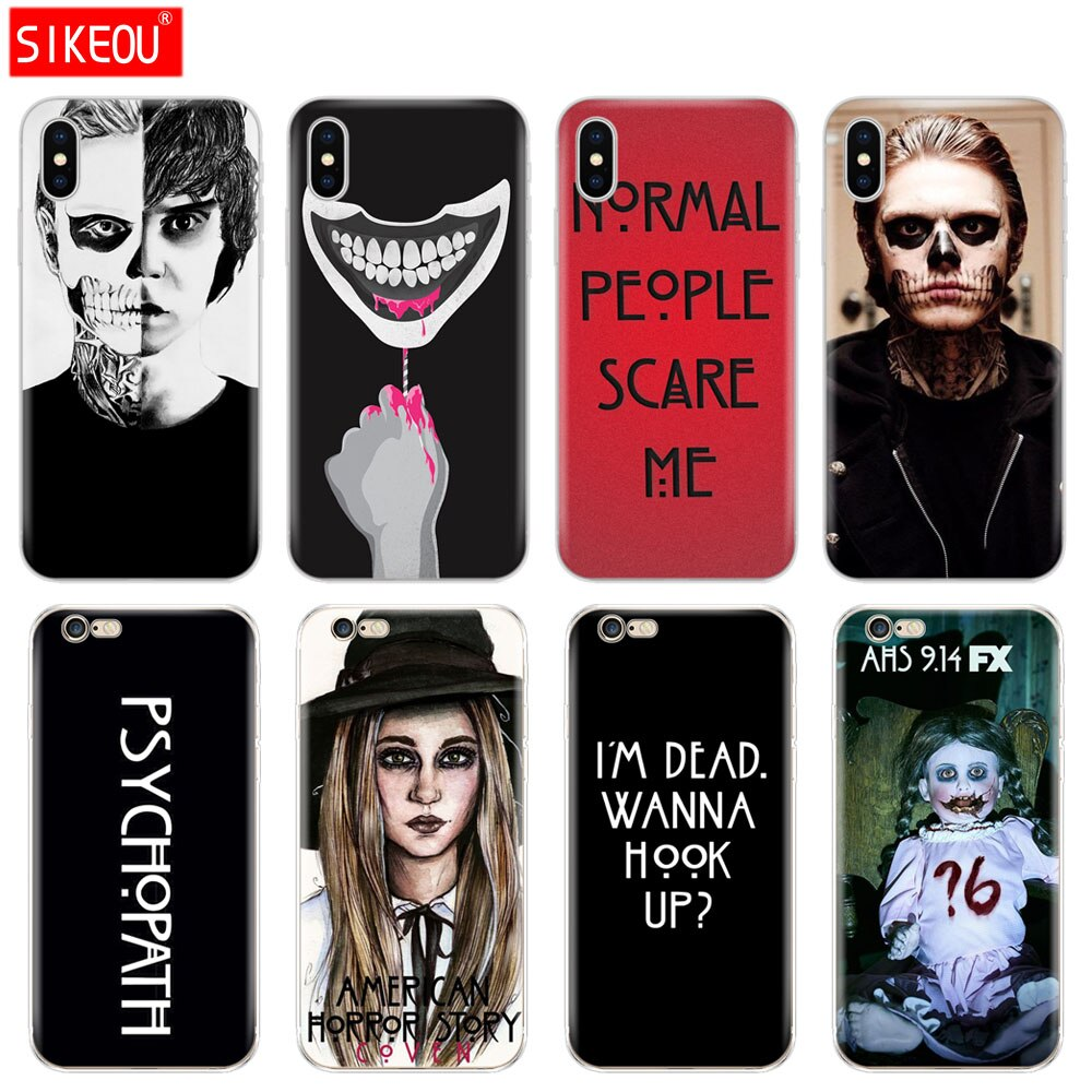 Tampa Do Telefone de Silicone Case Para Iphone 5 6X8 7 6 s 5S SE Plus 10 XR XS Max caso psicopata evan peters horror