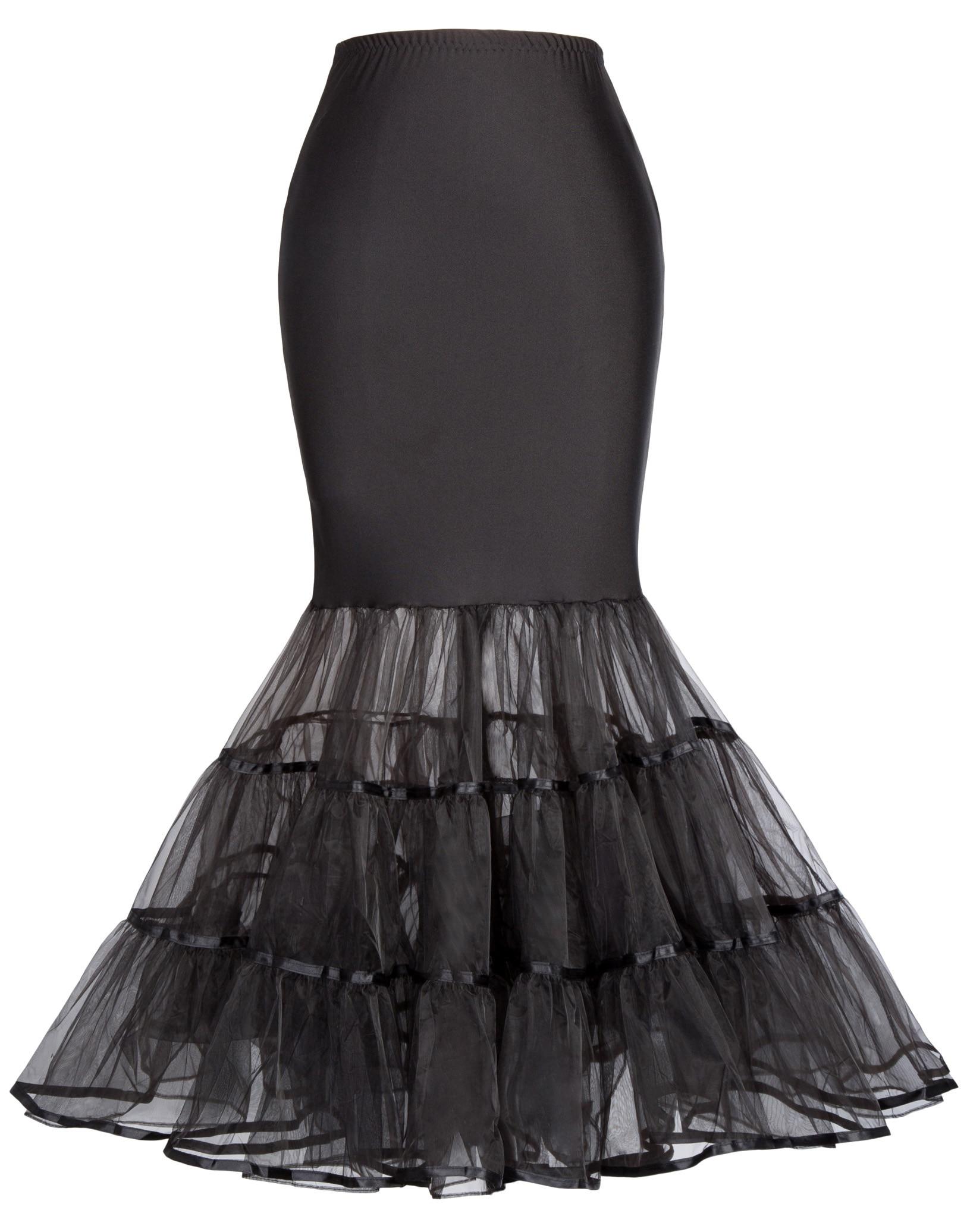 black tulle skirts Womens Vintage wedding party solid color long skirt Crinoline Underskirt Mermaid high waist Petticoat skirt