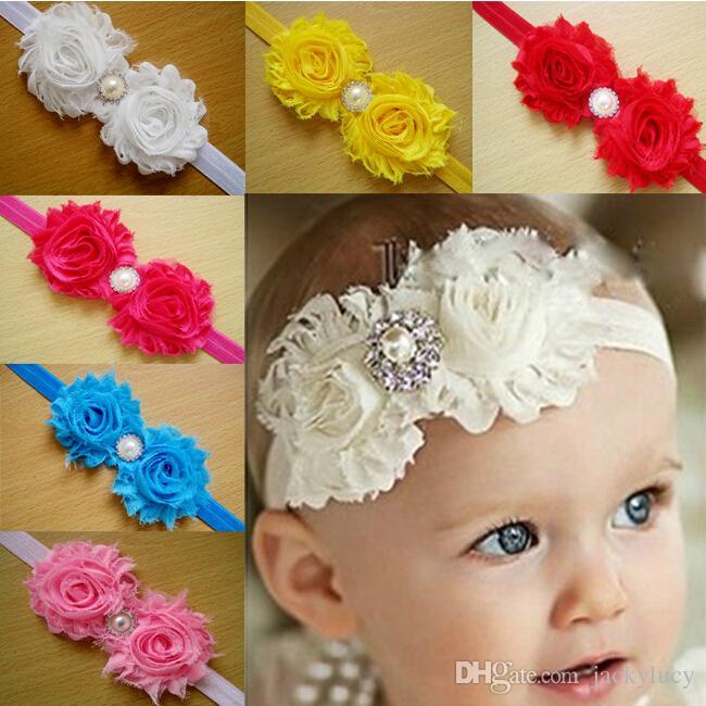 Diademas Shabby Baby de satén y Flor de Gasa con diamantes de imitación de perlas, diademas para bebé, niñas, niños, lazo para el pelo, accesorios Fre