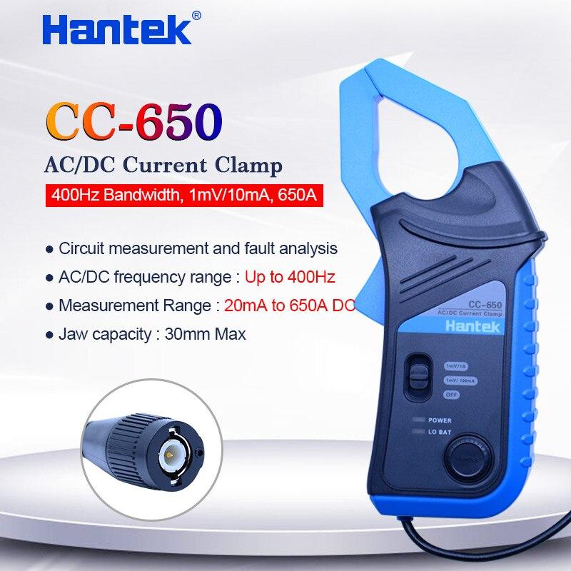 Hantek AC/DC الحالي المشبك متر CC650 ل راسم 400Hz عرض النطاق الترددي 1mV/10mA 650A CC-650 مع BNC/الموز نوع موصل