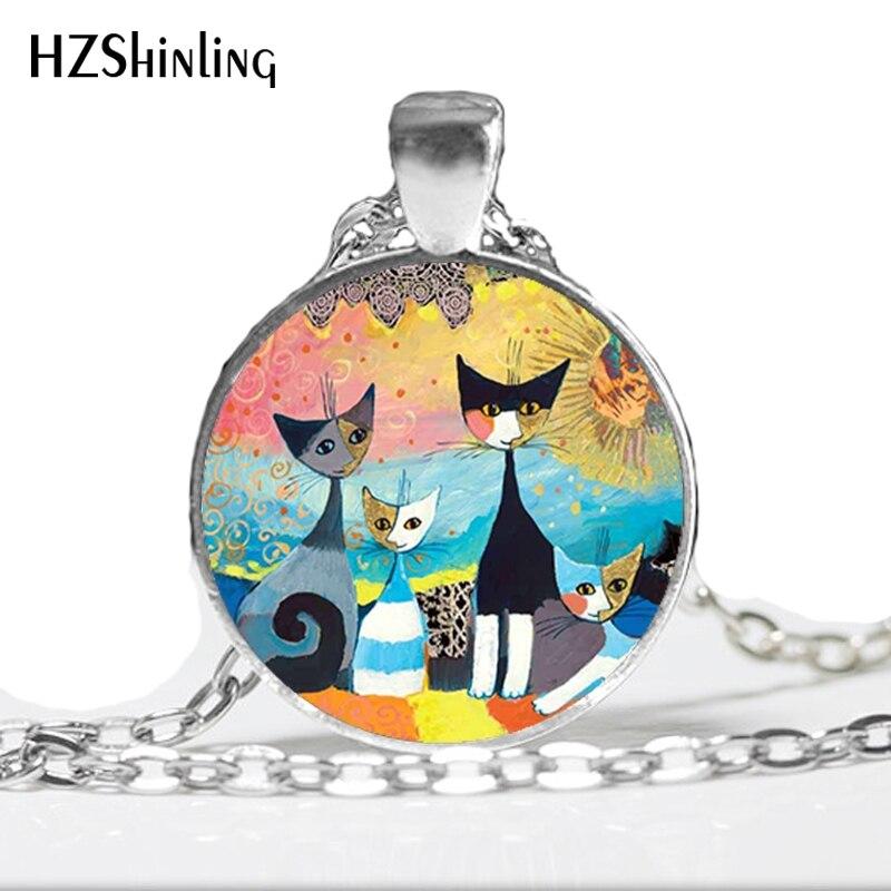 NS-00750 nowy projekt kolorowe koty rodzina naszyjnik Handmade kolorowe biżuteria dla miłośnika zwierząt sztuka szklana kopuła wisiorek HZ1
