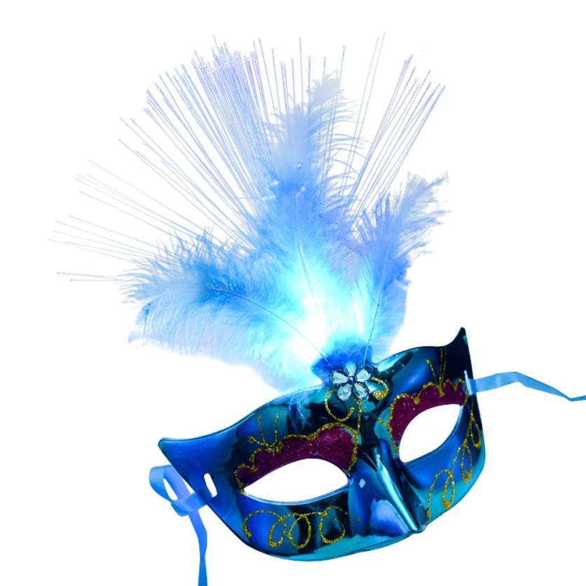 Mooistar # 4022D máscara de LEDFiber veneciana para mujer, disfraz de fiesta, máscaras de plumas de princesa