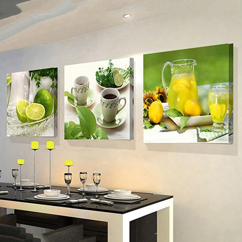 Toile de peinture Fruits moderne citron   3 pièces, tableaux, décor de salon de cuisine