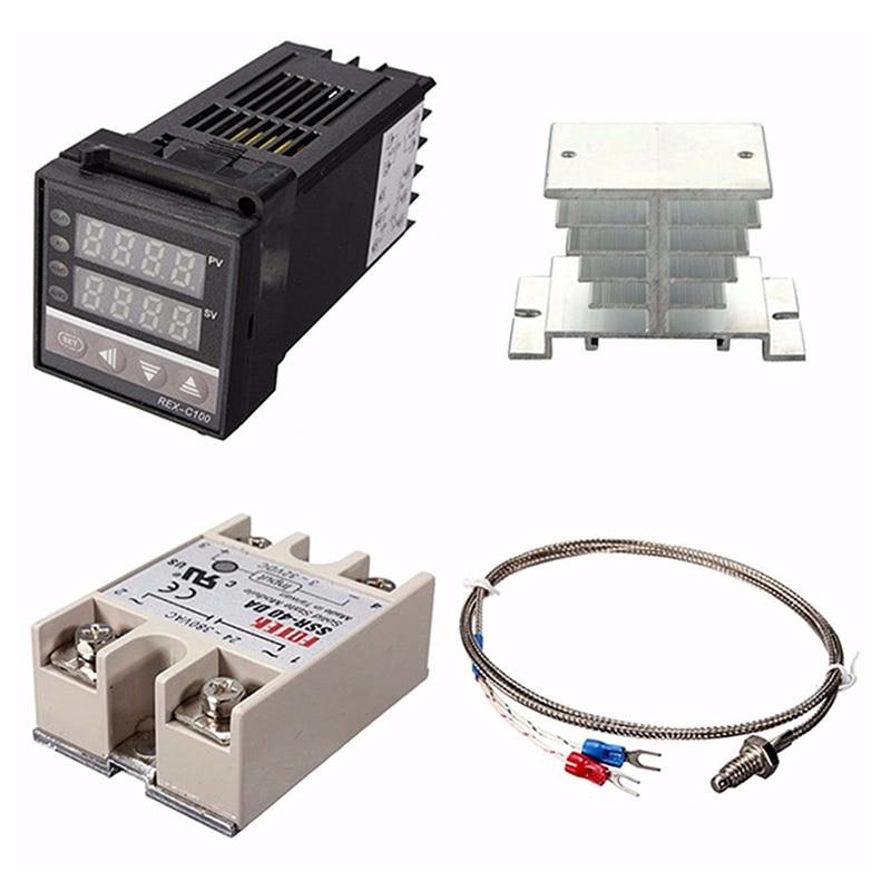 Цифровой ПИД-регулятор температуры 220 В, регулятор температуры + Макс. 40 А SSR + K термопара, ПИД-контроллер + радиатор